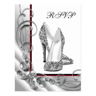 Glitter High Heel Shoe RSVP Postcard