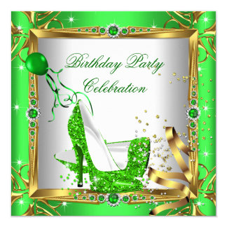 Glitter High Heel Shoes Lime Green Gold Party Card