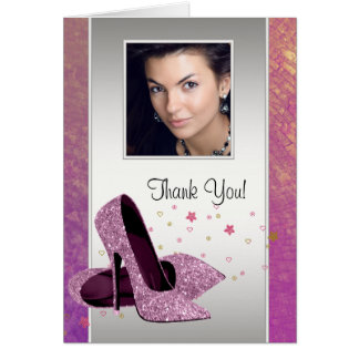 Glitter HIgh Heel Shoes Photo Thank You Cards