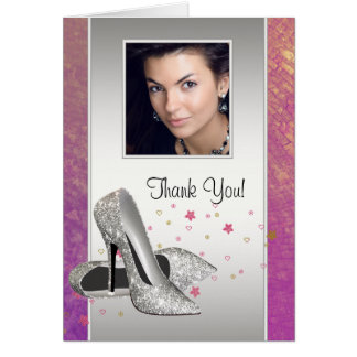 Glitter HIgh Heel Shoes Photo Thank You Cards Note Card