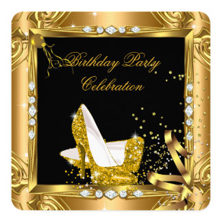Glitter High Heel Shoes Yellow Gold Black Party 5.25x5.25 Square Paper Invitation Card
