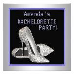 Glitter High Heels Purple Bachelorette Party Personalized Announcements