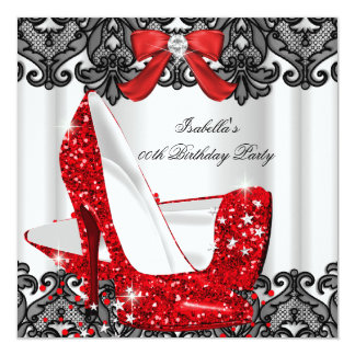 Glitter High Heels Red Lace Diamond Silver Party 3 Card