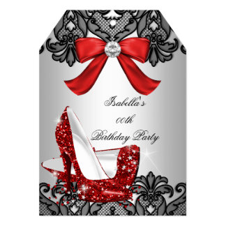 Glitter High Heels Red Lace Diamond Stiletto 3 Card