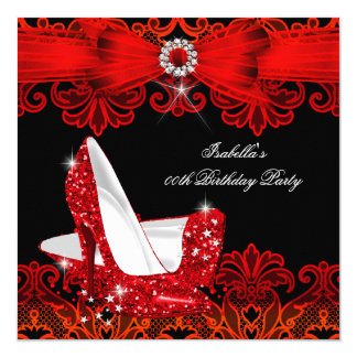 Glitter High Heels Red Lace Diamond Stiletto Shoe Card