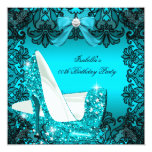 Glitter High Heels Teal Bow Black Lace Diamond Personalized Announcements