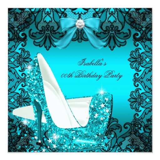 Glitter high heels teal bow black lace diamond invitation zazzle