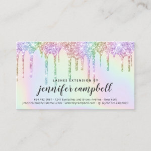 Glitter holographic lash aftercare instructions business card