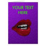 GLITTER HOT LIPS GREETING CARD