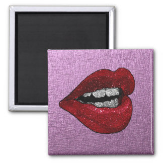 GLITTER HOT LIPS 2 INCH SQUARE MAGNET