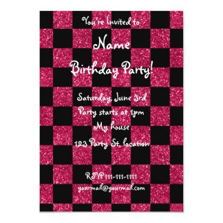 Glitter hot pink and black checkered pattern card