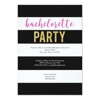 Glitter Hot Pink Black Stripes Bachelorette Party 5x7 Paper Invitation Card