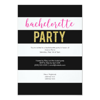Glitter Hot Pink Black Stripes Bachelorette Party Card