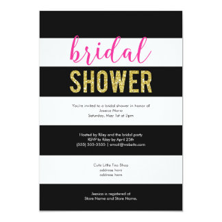 Glitter Hot Pink Black Stripes Bridal Shower Card