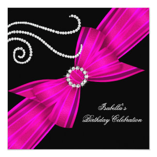 Glitter Hot Pink Diamond Bow Black Birthday Party Card