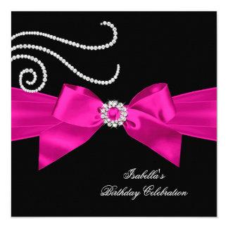 Glitter Hot Pink Diamond Bow Black Birthday Party 5.25x5.25 Square Paper Invitation Card