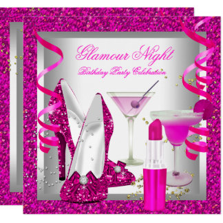 Glitter Hot Pink Glamour Night Martini Party Card