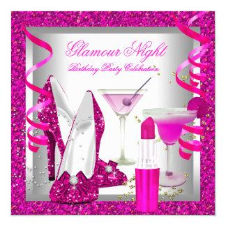Glitter Hot Pink Glamour Night Martini Party 5.25x5.25 Square Paper Invitation Card