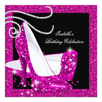 Glitter Hot Pink High Heels Birthday Party 2a Personalized Invitation