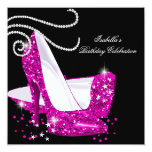Glitter Hot Pink High Heels Black Birthday Party Invites