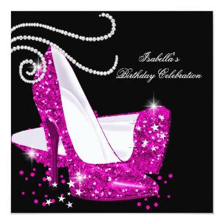 Glitter Hot Pink High Heels Black Birthday Party Invites