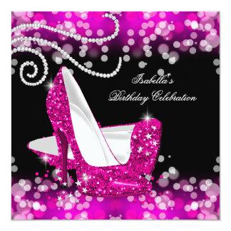 Glitter Hot Pink High Heels Diamonds Birthday Card
