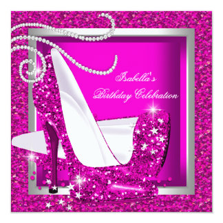 Glitter Hot Pink High Heels Luxury Birthday Party Card