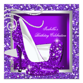 Glitter Hot Purple High Heels Any Occasion Party Card