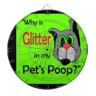 Glitter in Pets Poop Dartboards