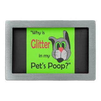 Glitter in Pets Poop Rectangular Belt Buckle