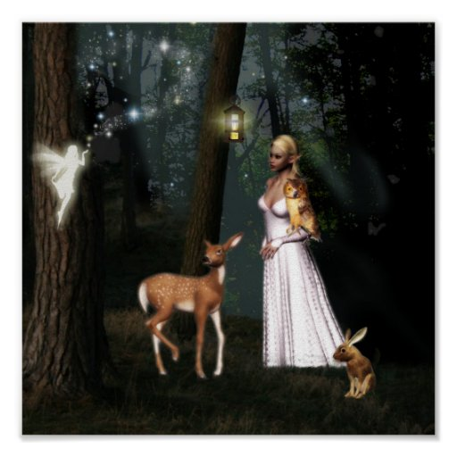 Glitter in the forest -Fairy fantasy poster