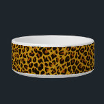 "Glitter Jaguar Print Custom Cat Bowl<br><div class=""desc"">Exotic kitty food dish done with graphics of a glittery looking brown, gold, and black jaguar print, around the dish, and a gold tone edged black text area, in the middle, for your pet&#39;s name. Golden yellow text allows you to customize with your pet&#39;s name, for a personalized bowl your...</div>"