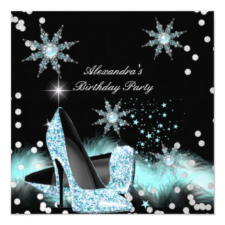 Glitter Light Teal Blue High Heels Birthday Party Card