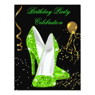Glitter Lime Green Gold Birthday Party Card