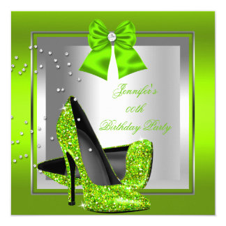 Glitter Lime Green High Heel Birthday Party Card