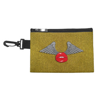 Glitter Lips with Wings Accessories Bag
