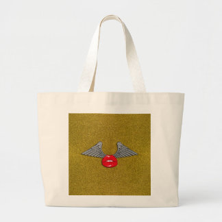 Glitter Lips with Wings Canvas Bags