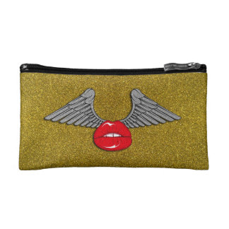 Glitter Lips with Wings Cosmetics Bags
