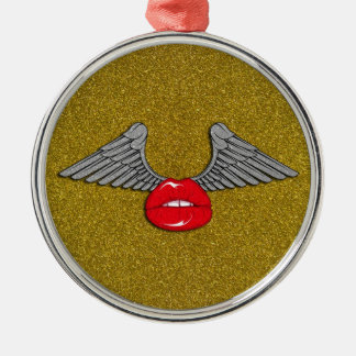 Glitter Lips with Wings Round Metal Christmas Ornament
