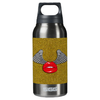 Glitter Lips with Wings 10 Oz Insulated SIGG Thermos Water Bottle