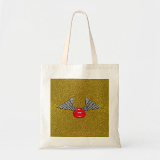 Glitter Lips with Wings Tote Bag