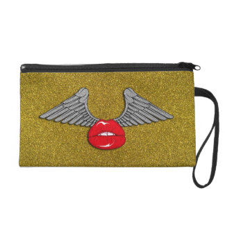 Glitter Lips with Wings Wristlet Clutches