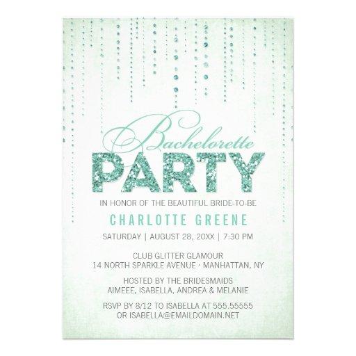 Glitter Look Bachelorette Party Invitation