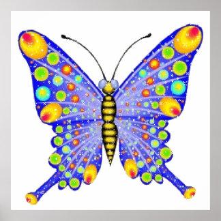 Glitter look butterfly posters