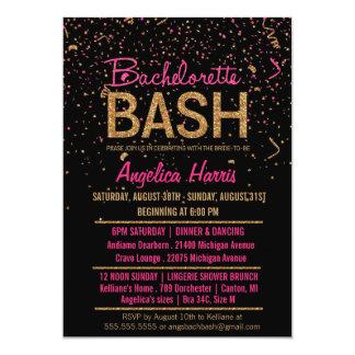 Glitter Look Confetti Bachelorette Party Shower Card