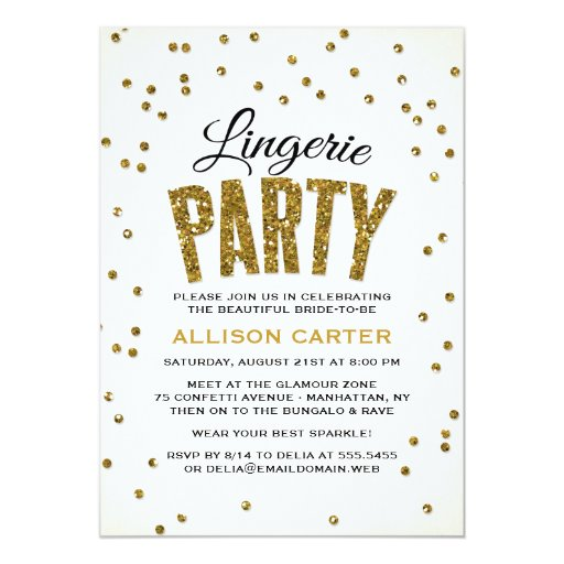 Glitter Look Confetti Lingerie Party Card
