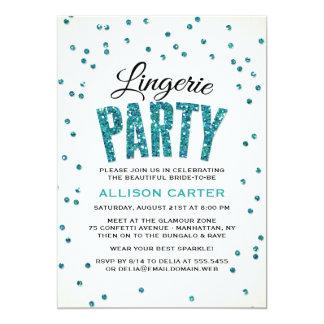 Glitter Look Confetti Lingerie Party 5x7 Paper Invitation Card