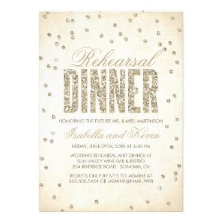 Glitter Look Confetti Rehearsal Dinner Invitation