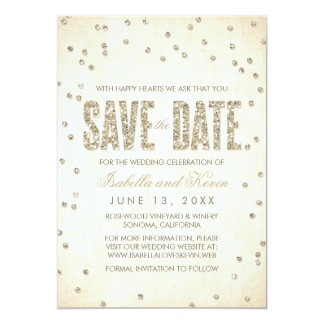 "Glitter Look Confetti Wedding Save the Dates 5"" X 7"" Invitation Card"