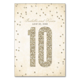 Glitter Look Confetti Wedding Table Numbers - 10 Card